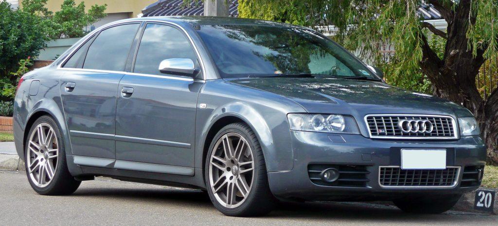 Used, grey Audi A4, B6 sport model (S4), 4-door saloon
