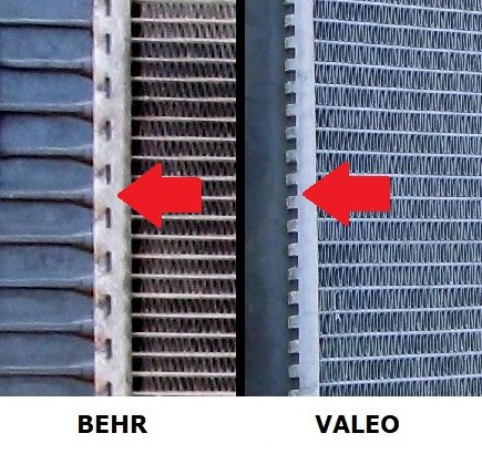 Mercedes-Benz radiator comparison, Behr and Valeo, difference in crimping method