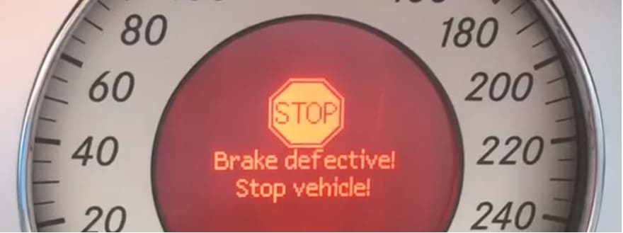 "SBC failure warning message ""Brake defective!, Stop vehicle!"" on a Mercedes-Benz dashboard display"