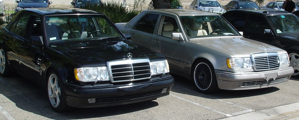 Two used Mercedes-Benz E-Class cars, W124 models, 4-door saloons