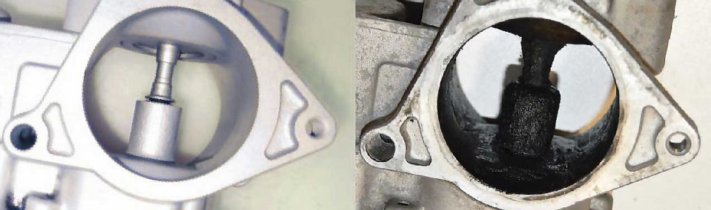 Comparison of a new EGR valve and a clogged EGR valve, carbon deposits unable the EGR valve to move