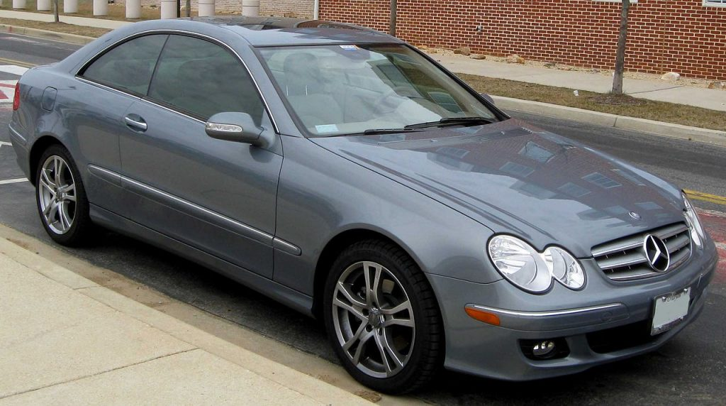 Used, grey Mercedes-Benz CLK-Class coupe car, W209 facelift model
