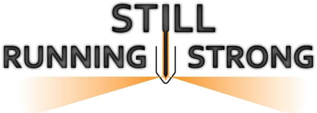still running strong logo based on a firing diesel injector
