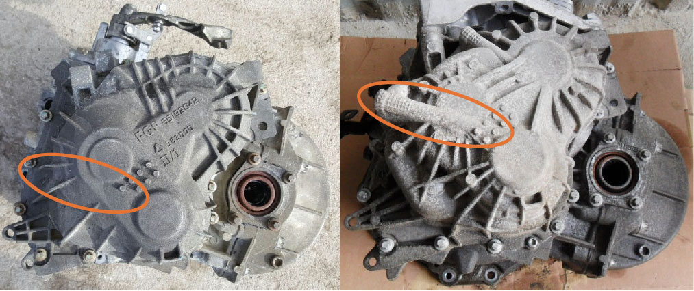 Comparison of pre-2012 M32 gearbox end case with the updated one, position of extra oil channel marked