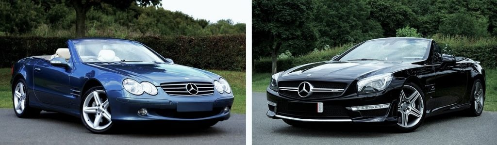 Two Mercedes-Benz SL-CLass cars, blue R230 model on the left, black R231 model on the right