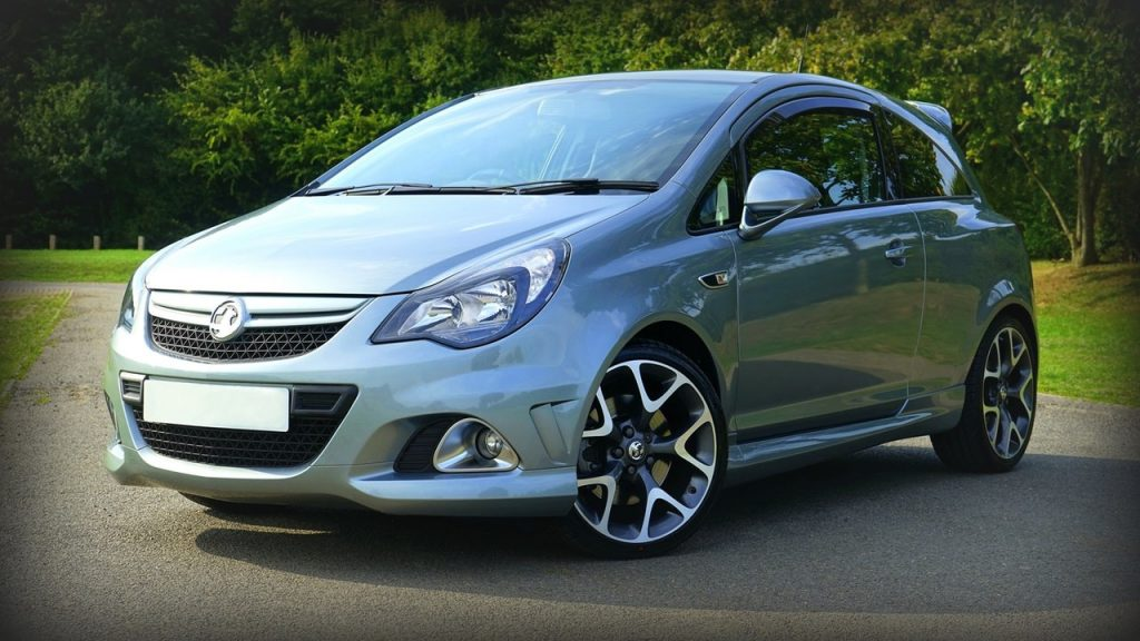 Used, grey Vauxhall Corsa VXR, a post-facelift model with 18 inch OEM rims and VXR bodykit, three-door hatchback
