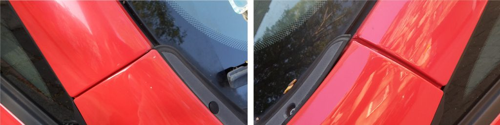 Asymmetrical panel gap between the A-pillar and the fender. Comparison of the left and right A-pillar.