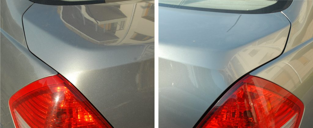 Asymmetrical panel gaps between the boot lid and tail lights. The gap on the right side of the car is larger.