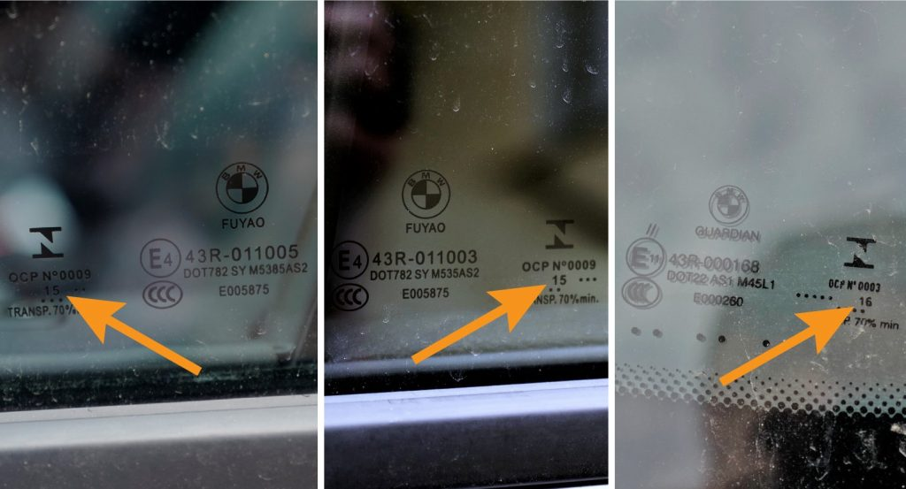 Three windows on the same used car. Close up of the window manufacturing dates. Arrows point out the year of manufacture.