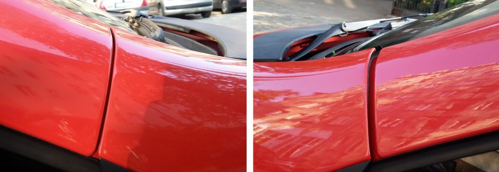 Different panel gaps where the A-pillar meets with the front wing. Comparison of the left and right A-pillar.