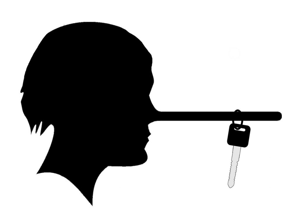 Silhouette of a lying man with a long nose. A car key is hanging from the Pinocchio-like nose.
