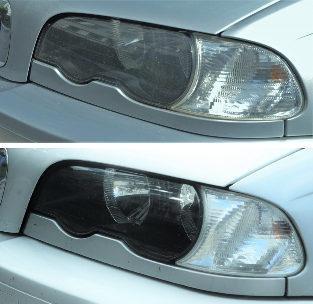 Comparison of foggy, oxidized headlights with headlights in good condition.