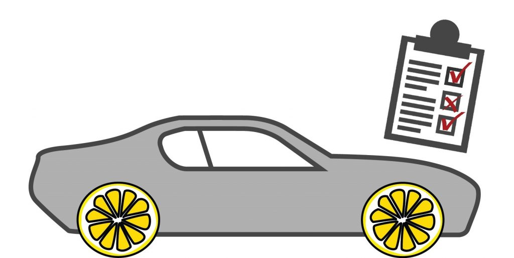 A car inspection checklist next to a car with lemons instead of wheels.