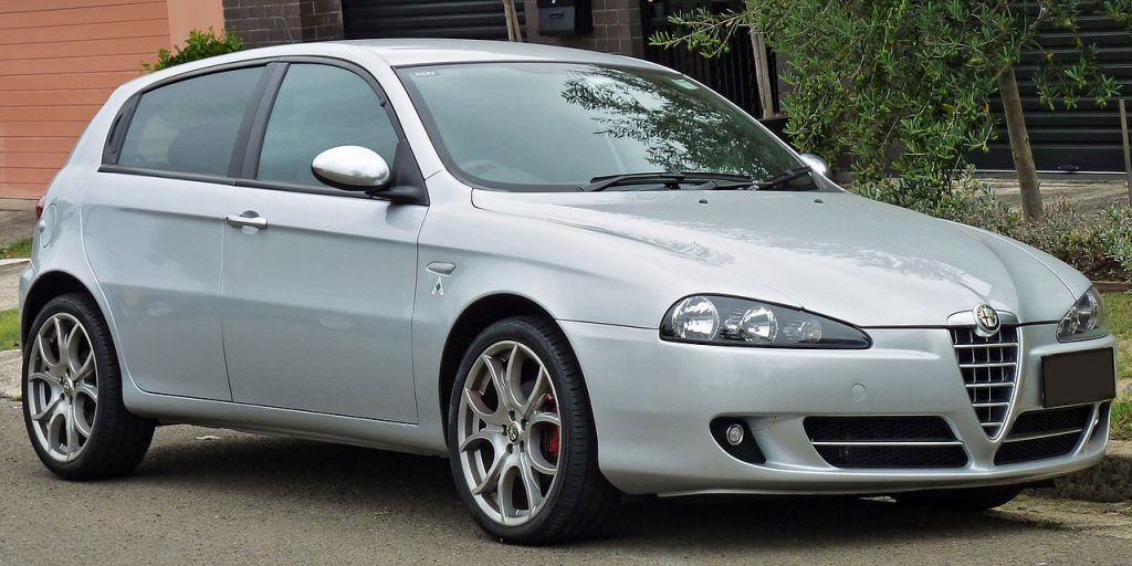 Used, grey Alfa Romeo 147 on OEM alloy wheels. A post-facelift model.
