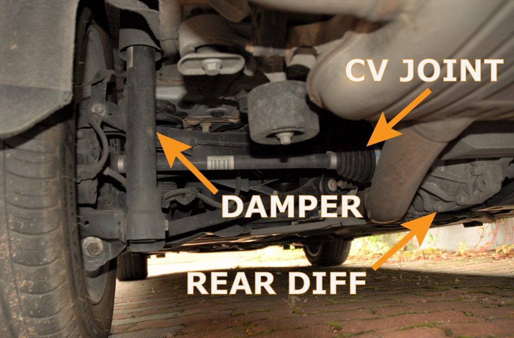 Underside view of the rear suspension in a used car. The CV joint, the damper and the rear differential marked.