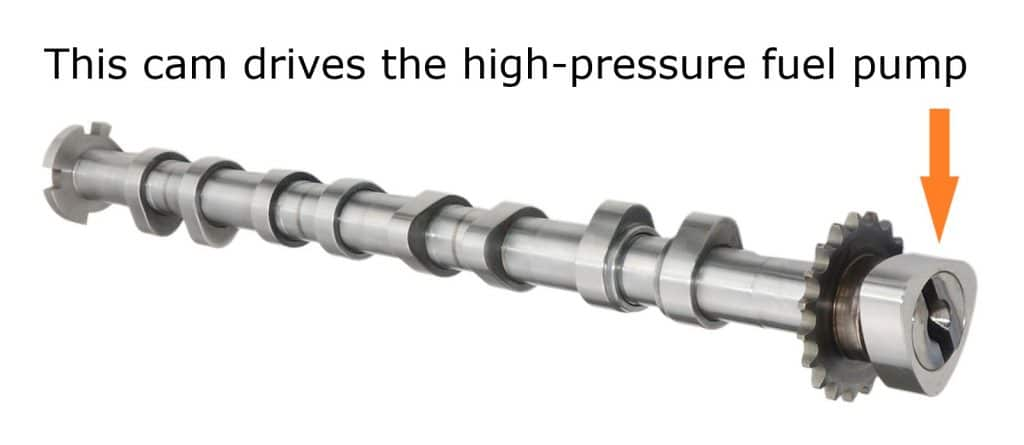 A camshaft from a gasoline direct injection engine with an extra cam to drive the high-pressure fuel pump.