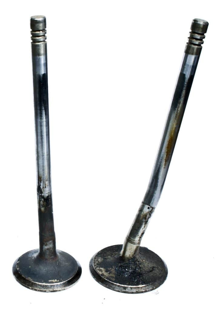Two bent engine valves