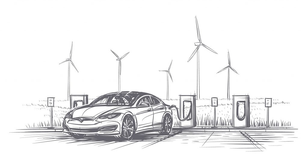 Sketch of an electric car being charged in front of a wind farm.